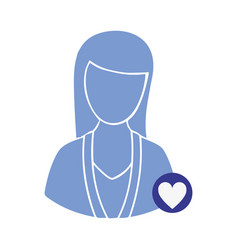 Blue contour woman with blue heart icon vector
