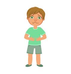 boy with stomach crampssick kid feeling unwell vector image vector image
