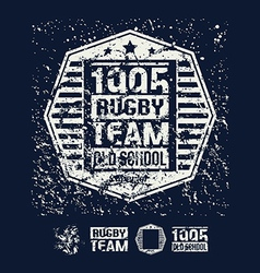 College rugby retro emblem and design elements vector image