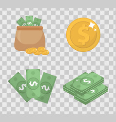 money and coin set icons flat style isolated on vector image
