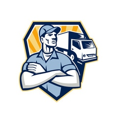 Removal man moving delivery van crest retro vector
