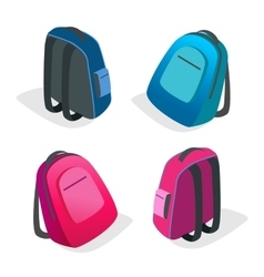 School bag Backpack Flat 3d isometric vector image vector image