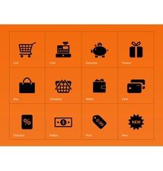 Shopping icons on orange background vector image vector image