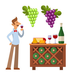 sommelier in suite looking at red wine in glass vector image