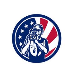 american cameraman usa flag icon vector image