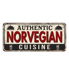 authentic norvegian cuisine vintage rusty metal vector image
