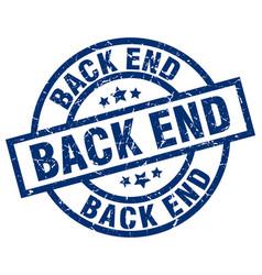 back end blue round grunge stamp vector image