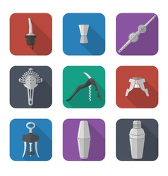 Barmen equipment icons set vector