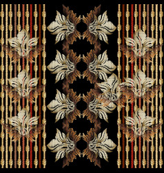baroque striped floral embroidery seamless pattern vector image