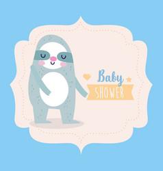 bashower cute sloth animal label cartoon icon vector image