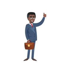 Black businessman gesturing thumb up vector