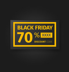 Black friday 70 percent discount coupon vector