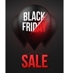 Black Friday Sale Air Balloon Poster Template with vector