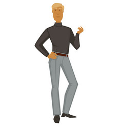 blond guy in turtleneck and pants 1960s fashion vector image