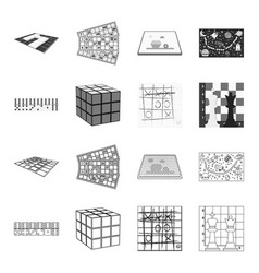 board game outlinemonochrome icons in set vector image