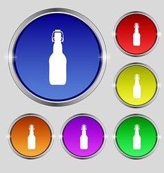 Bottle icon sign Round symbol on bright colourful vector