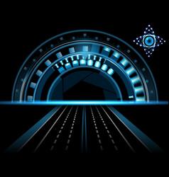 brilliant technological eye hud on a black vector image