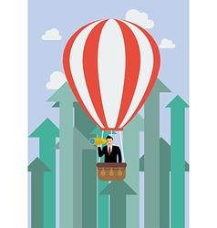 Businessman in hot air balloon against growing up vector