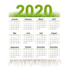 calendar 2020 year grass style vector image