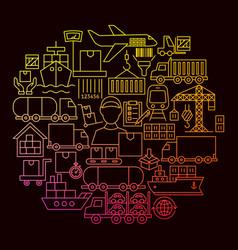 cargo line icon circle concept vector image
