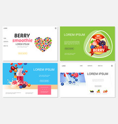 cartoon berry smoothies websites set vector image