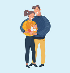 cartoon of a happy young family vector image