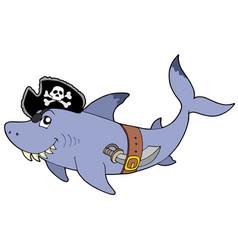 Cartoon pirate shark vector