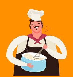 Chef or baker whips dough in kitchen cooking vector