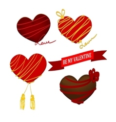 Chocolate heart Valentines day with ribbon vector image