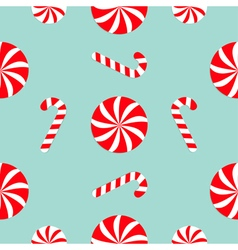 Christmas Candy Cane Round white and red sweet set vector image