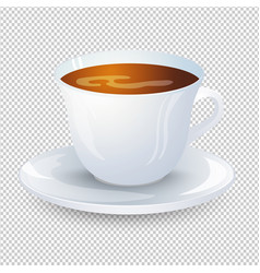 Classic black coffee in a white cup with a saucer vector