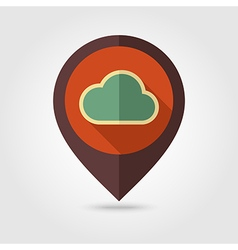 Cloud retro flat pin map icon Weather vector