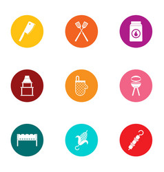 Cookout icons set flat style vector
