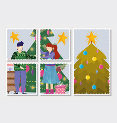 couple with trees decoration tree merry christmas vector image