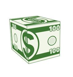 cube dollar vector image