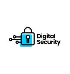 digital security padlock technology logo icon vector image