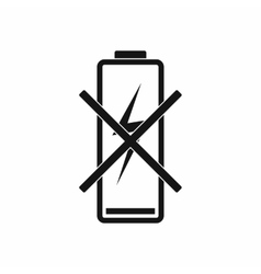 Discharged battery icon simple style vector