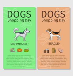 Dogs shopping day flyers vector