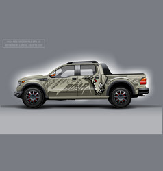 Editable template for wrap suv with evil boar vector