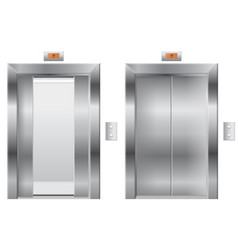elevator open and closed metal doors vector image