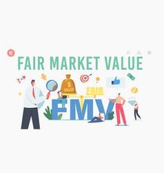 Fair value market fmv landing page template tiny vector