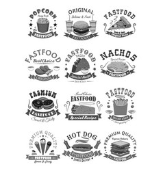 Fast food icons set for fastfood restaurant vector