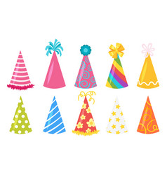 festive cone hats set vector image