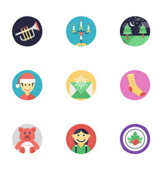 Flat icons set of christmas vector
