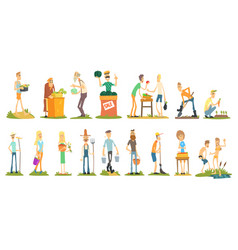 flat set of farmers doing their job selling vector image