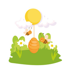 flying bees honeycomb hive sun flowers grass farm vector image