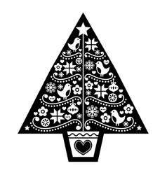 Folk-christmas-tree-card-2-black vector
