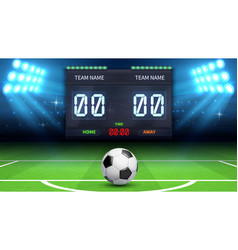 football stadium background realistic soccer ball vector image