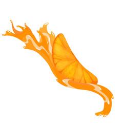 fresh ripe orange piece fruit without leaves vector image