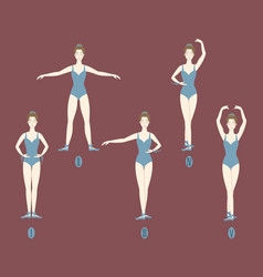Girl dancer shows the five basic ballet positions vector